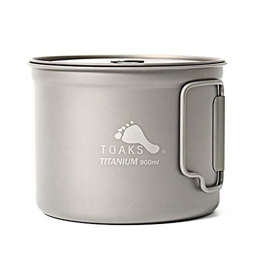 TOAKS Pure Titan Geschirr im Freien Becher Camping Tasse, große Größe Kann als Topf Verwendet Werden(375ml,450ml,550ml,650ml,750ml,1100ml) (900ml)