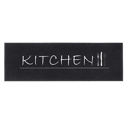 BSM 2000 Alfombra de Cocina - Kitchen Black, 150 x 50 cm, Atrapa Suciedad, Lavable 30 °Grados, Antideslizante, Diversos Motivos