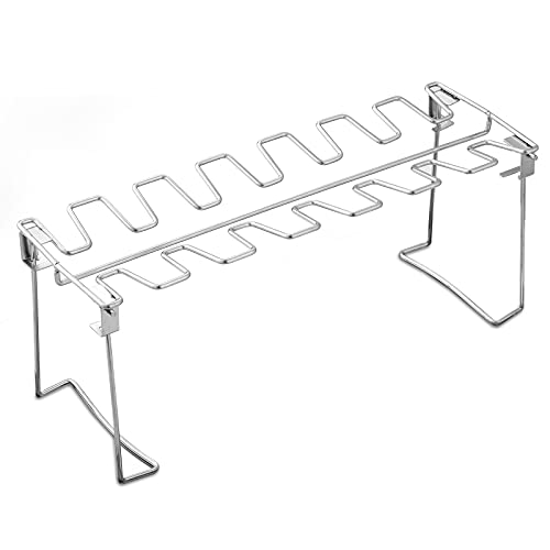Chicken Leg and Wing Rack for Grill Smoker Oven - Easy to Use 14 Slots Chicken Leg Rack - High Grade Stainless Steel Chicken Wing Rack Chicken Drumstick Holder for Perfect Cook