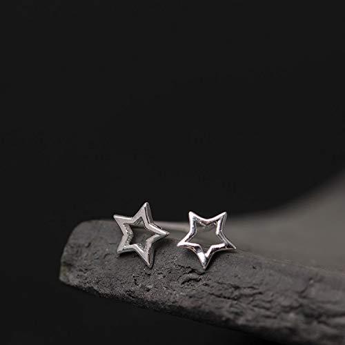 sis-woner Pendientes de Estrella Personalizados de Plata 925 Estrella Hueca de Cinco Puntas