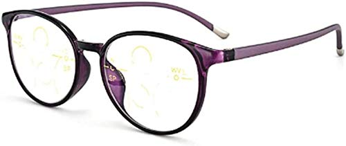 Gafas de lectura Unisex multifocal progresiva gafas de lectura, Anti-azul claro gafas de telefonía móvil lupa, TR90 material remoto y local de doble uso multi-zoom de enfoque inteligente for ojos, vas