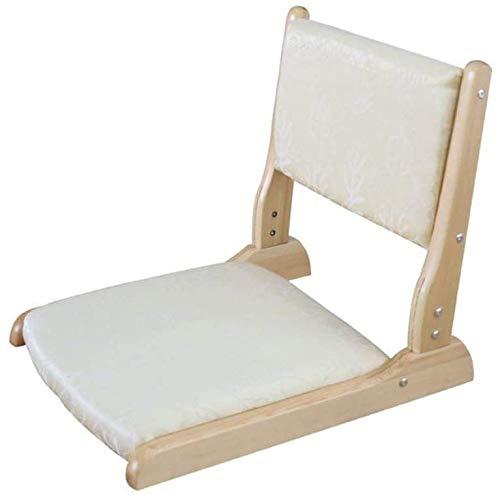 Rabbfay Klappbarer Bodenstuhl, Holz, Tatami, Meditationsstuhl für Seminare, Yoga, TV, Spiele, geeignet für Zuhause oder Büro, Beige