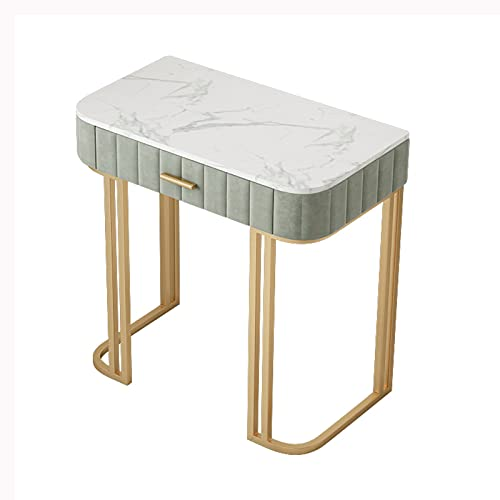 Tocador Mesa Cosmética Mesa de tocador de Maquillaje con 1 cajón de tocador para niños pequeños para dormitorios-doméstico Oficina de computadora Mesa de mármol/Patas de Metal de Oro Escritorio de M
