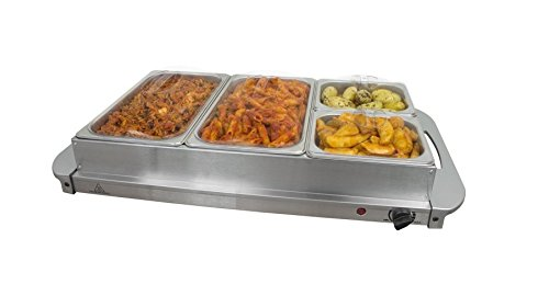 Invero® Large 4-Section Stainless Steel Food Buffet Server and Warming Hotplate Tray with Adjustable Temperature Control, Clear Lids and Silver Handles - 300W