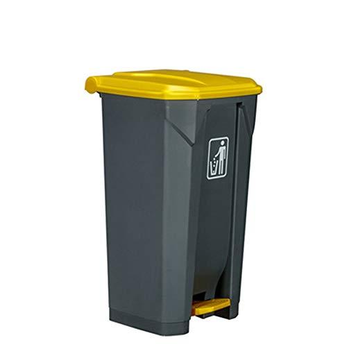 Premium Papelera Cubo de Basura Cubo de basura de 100 litros de basura al aire libre Contenedor grande Reciclaje de basura con tapa amarilla Pedal de pie Cubo de basura gris para cocina Calle de ofici