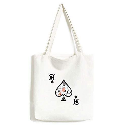 Dier huisdier schattig kat familie handtas Craft Poker Spade wasbare tas