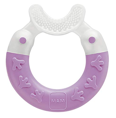 MAM Bite & Brush, Baby Ring Suitable From 3+ Months Old, Teething Toy Promotes Dental Hygiene and Cleanliness, Soothes Painful Gums, Purple