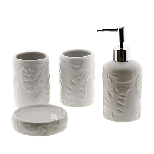 Cuco´S Nest Set de Baño de 4 Piezas de Ceramica Mod. Mariposa Blanco. Conjunto de Accesorios de sobreponer para el Lavabo.