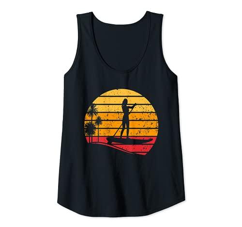 Damen Sunset Stand Up Paddle Board - Wassersport Sunset SUP Girl Tank Top