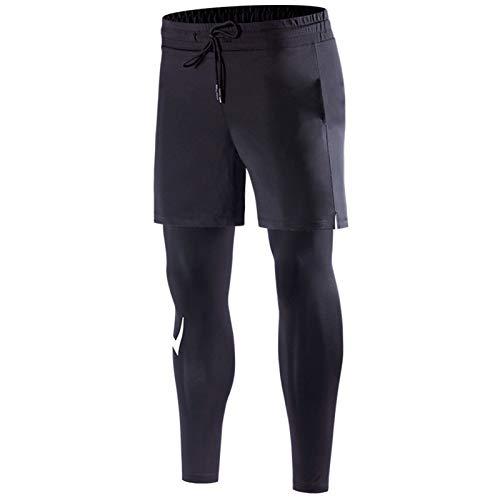 ASDFK Pantalones de entrenamiento clásicos falsos de dos piezas, pantalones de deporte para culturismo, atletismo, con cordón, de secado rápido, elásticos, transpirables, para correr, gimnasio