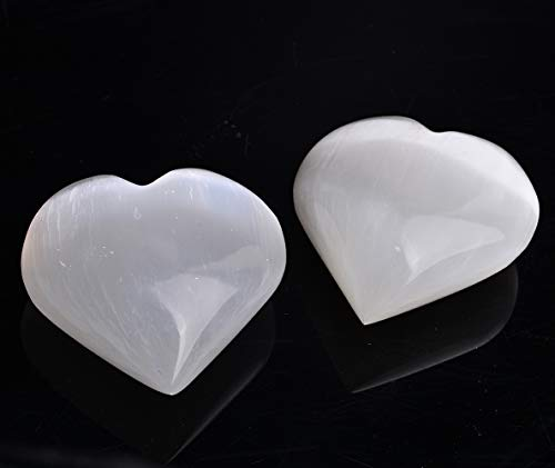 AMOYSTONE Selenite Crystal Hearts of Palm Worry Stone Crystal and Healing Stones Home Decoration 2PCS