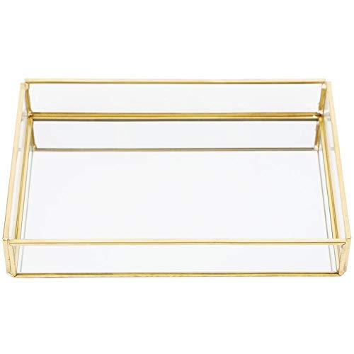 Focket Bandeja para joyas, estuche de maquillaje en caja de cristal para joyas de oro, para decorar cómodas, joyas, joyas, joyas, etc. (Rectangular mediano)