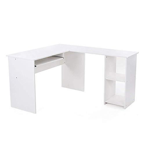 VASAGLE Schreibtisch großer Computertisch, Stabiler Eckschreibtisch, PC-Tisch, erleichterte Montage, 140 x 120 cm, Winkelkombination, BüRotisch mit 2 Ablagen und Tastaturauszug, Weiß LCD810W