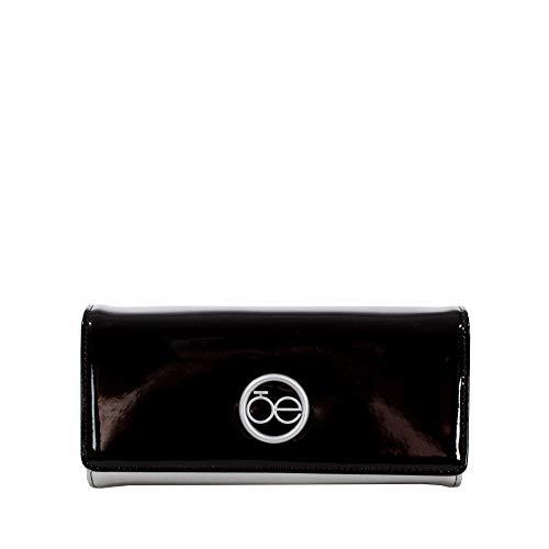 Cloe - Billetera Tipo Flap Grande Color Plata para Mujer en Charol