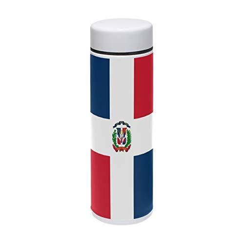 ZZKKO - Botella de Agua de Acero Inoxidable con Bandera de la República Dominicana, Doble Pared, Termo Aislado al vacío, Taza de Viaje sin BPA