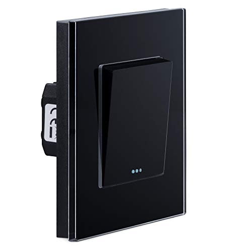 Navaris Interruptor de pared de cristal - Switch con pulsador para luz - Placa individual de vidrio de 8.5 x 8.5 x 4 CM empotrable en pared - Negro
