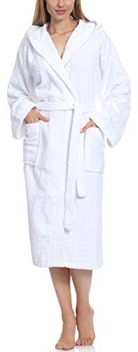 Ladeheid Peignoir de Bain Éponge 100% Coton Femme LA40-102 (Blanc (P01) (Grammage 450), L)