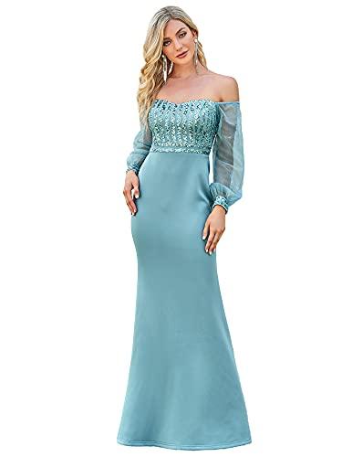 Ever-Pretty Vestito da Ballo dalla Spalla Elegante Lungo Stile Impero Manica Lunga Donna Blu Polveroso 42