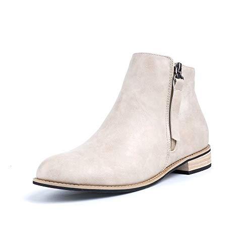 Botines Mujer Planos Tacon PU Cuero Botas Chelsea Ancho Ante Piel Casual Zapatos Invierno Moda Ankle Boots 2.5CM Negros Beige Marrón 35-43 EU Beige 37