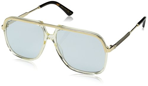 Gucci Unisex-Erwachsene GG0200S 005 Sonnenbrille, Gelb (5/Light-Bluee), 57