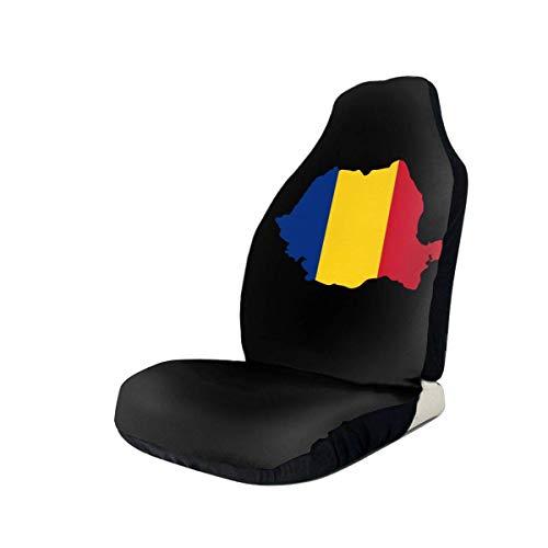 Little Yi Cubiertas de asiento delantero para automóvil Flag-1 rumano Ajuste universal La mayoría de los automóviles