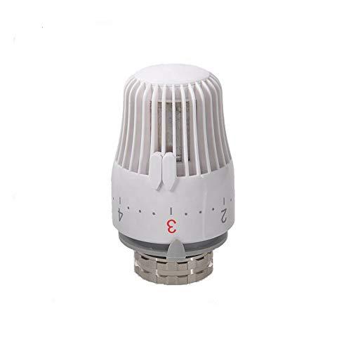 Cabezal termostático, válvulas para radiadores de calefacción con sensor integrado para radiadores con conexiones M30 x 1,5, carrera de cierre 11,8-12,2 mm-blanco