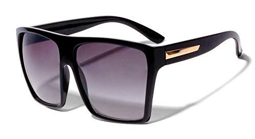ShadyVEU - Gafas de sol cuadradas de gran tamaño con parte superior plana, 100% protección UV, forma trapezoidal, negras, grandes, XL y grandes, Negro (Negro brillante con dorado.), X-Large