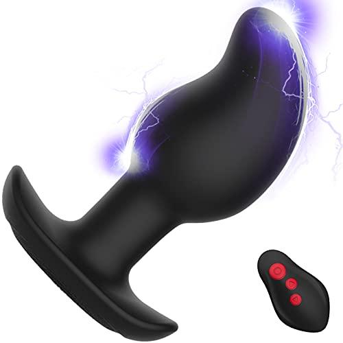 Analvibrator Prostata Stimulator Analplug mit 8 Stromschlag und vibrationmode, Leyuto Electric Shock Vibratoren Anal Plug Stimulator Sexspielzeug mit Fernbedienung für Männer, Frauen, Paare