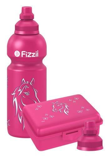 Fizzii Set Trinkflasche 600ml + Lunchbox inkl. Obst-/ Gemüsefach (schadstofffrei, spülmaschinenfest, Motiv: Pferd)