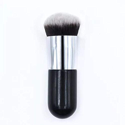Multi-usages portable bb crème brosse maquillage brosse jetée grassouillet fondation brosse tête plate brosse de maquillage noir argent
