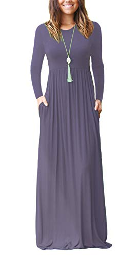 VIISHOW Women's Long Sleeve Solid Pockets Plus Maxi Long Dress with Elastic Waistband(Purple Gray,Medium)