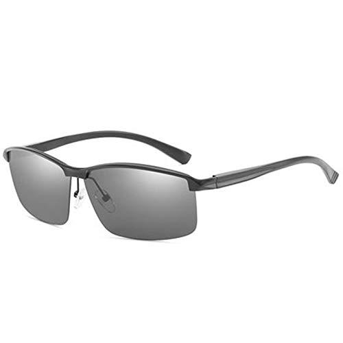 YRC Unisex Gafas de Sol polarizadas Anti-Ultraviolet Smart Sensor Discolorización Hombres Conducción Pesca Templos de Metal Protección 100% UV (Color : Black)
