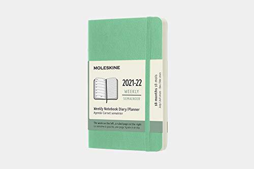 Moleskine Agenda Settimanale 18 Mesi, Copertina Morbida, Formato Pocket, Colore Verde Ghiaccio