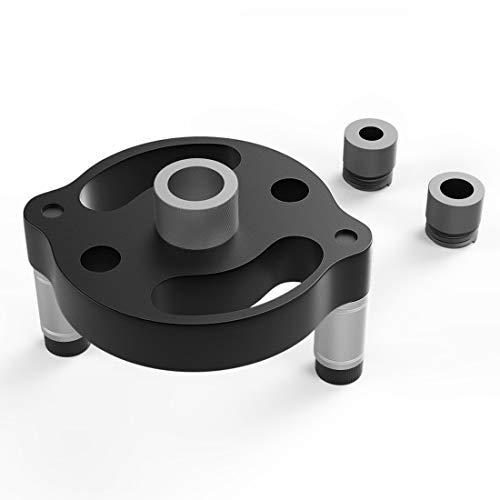 Housolution Bohrführung, 2.75 Zoll Bohrhelfer aus Aluminiumlegierung 3 Positionierer Bohrwerkzeuge für Holzbearbeitung Locher Vertikale Bohrvorrichtung Locator mit 6/8/10mm Bohrbuchsen - Schwarz