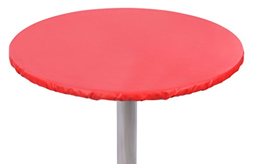 """Yourtablecloth Heavy Duty Vinyl Round Fitted Tablecloth (Table Cover) with Flannel Backing Vibrant Colors Elasticized Tablecloth Great for Indoor and Outdoor Dining and Playing Cards 48"""" Ruby Red"""