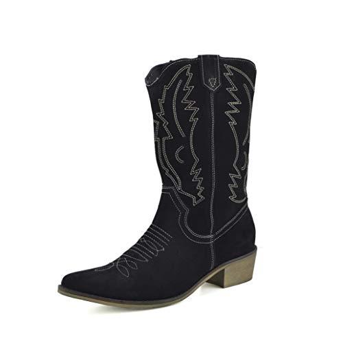 Kick Footwear Damen Western Leder Cowboy Stiefel Spitz Zehen Damen Breite Kalb Stiefel - UK 9/EU 42, Schwarz Wildleder
