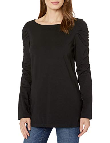 Neon Buddha Women's Casual cotton Blouse Female Basic Black Long Sleeve T Shirt With Draped Sleeves and Scoop neck, Large