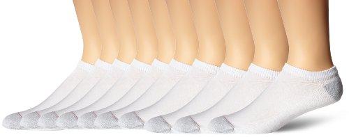 Hanes Men's Ultimate No Show Socks, 10-Pack, White, Shoe Size: 6-12