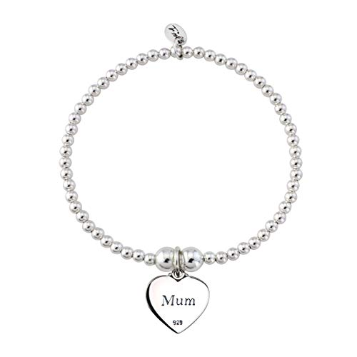 Trink Brand Mum Sterling Silver Beaded Heart Charm Bracelet (Mother/Mom)