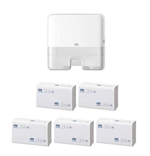Tork Xpress Mini Spender für Multifold Papierhandtücher 552100, Elevation Design - Kompakter H2 Handtuchspender für Falthandtücher zur Einzelblattentnahme, weiß (1, Mini + 5 Päckchen Handpapier)