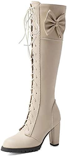 Dames hoge laarzen met dikke hakken, ronde neus, hoge hak, zijkantje, lolita knielengte laarzen, meisjes strik voorste riemen, lederen laarzen,Beige,46