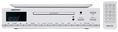 MEDION E66281 CD-Unterbau UKW Küchenradio (CD-R/CD-RW, Audio-CD, AMS, AUX-Eingang, LC-Display, 64 Senderspeicher) weiß