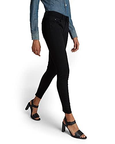 G-STAR RAW Damen Jeans Arc 3D Mid Skinny Wmn, Pitch Black B964-A810, 28W / 30L