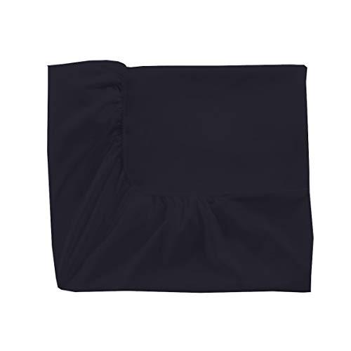 Essix Home Collection - lenzuola singolo singolo con angoli, in cotone percalle, numero fili: 80, Blu notte, 140 x 200 cm