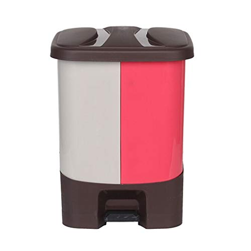 NYKK Cubo de Basura Cubo de Basura al Aire Libre clasificado Jardín de Flores Contenedor de Basura plástico Capacidad Grande 20L Cubo de Basura Escalonado (Color : Pink)