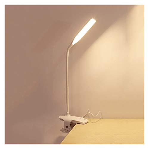 Lámpara de Escritorio Lámpara de escritorio LED 3 Niveles de atenuación Lámpara de mesa de control táctil recargable, luces de lectura de luz de clip con puerto de carga USB, luz blanca cálida de 4000