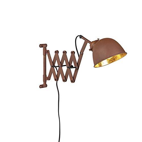 QAZQA Industrial Aplique vintage óxido con dorado desgrastado y acordeón - SCISSORS Acero Alargada/Orgánica Adecuado para LED Max. 1 x 40 Watt