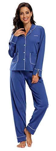 SHEKINI Schlafanzug Satin Damen, Baumwolle Knöpfen Pyjama mit Hose mit Gummibund Nachthemd Nachtwäsche Sleepwear 2 Teiliges Klassisch Pyjama Set Zweiteiliger Schlafanzug lang(Dunkelblau,M)