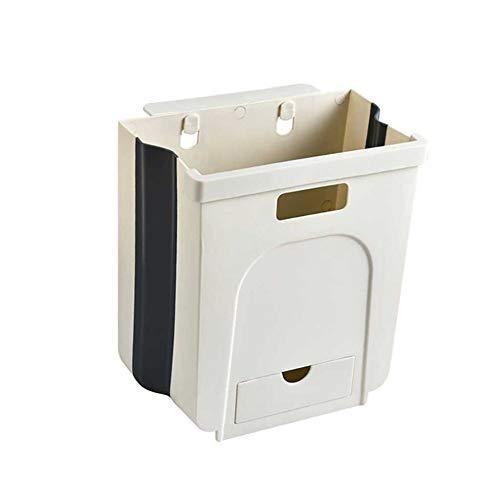 N/A Praktischer Mülleimer, zusammenklappbar, zur Wandmontage, Küchenschrank, hängend, Mülleimer, Würfel beige