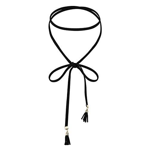 Daesar Collar Mujer,Collar Lazo Borla Collar Acero Inoxidable Mujer Oro Negro